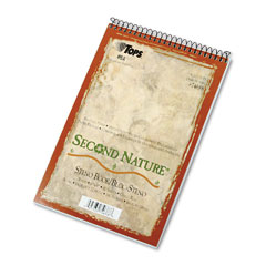 Tops - second nature spiral reporter/steno notebook, gregg rule, 6 x 9, we, 80-sheet, sold as 1 ea