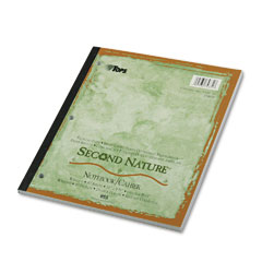 Tops 74831 Second Nature Subject Notebook, College Margin/Rule, Ltr, White, 80 Sheets
