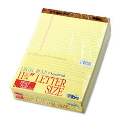 Tops - paper pads, legal rule, letter size, canary, 50 sheet pads, dozen, sold as 1 dz