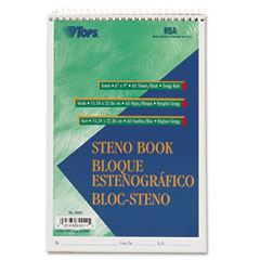 Tops - gregg steno books, 6 x 9, green tint, 60-sheet pad, sold as 1 ea