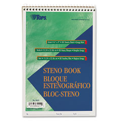 Tops - gregg steno books, 6 x 9, green tint, 80-sheet pad, sold as 1 ea
