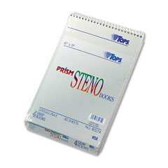 Tops - spiral steno notebook, gregg rule, 6 x 9, gray, 4 80-sheet pads/pack, sold as 1 pk