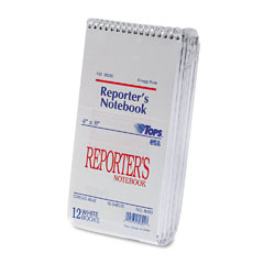 Tops 8030 Reporter Notebook, Gregg Rule, 4 X 8, White, 12 70-Sheet Pads/Pack