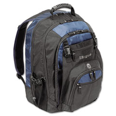 "Targus TXL617 17"" Laptop Backpack, File Compartment, Audio Player Sleeve, Black/Blue"
