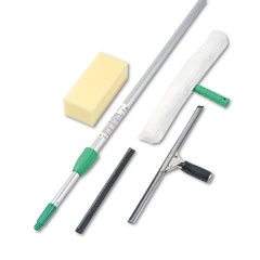 Unger - pro window cleaning kit w/8-ft. pole, scrubber, squeegee, scraper, sponge, sold as 1 ea