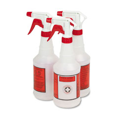 Unisan 03010 Plastic Sprayer Bottles, 24 Oz., 3 Bottles/Pack