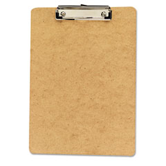 Universal - hardboard clipboard, 1/2-inch capacity, holds 8-1/2w x 12h, brown, 6/pack, sold as 1 pk