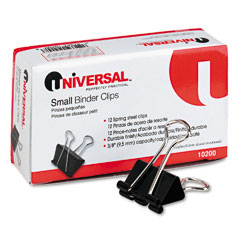 "Universal 10200 Small Binder Clips, Steel Wire, 3/8"" Capacity, 3/4"" Wide, Black/Silver, Dozen"