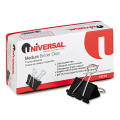 "Universal 10210 Medium Binder Clips, Steel Wire, 5/8"" Cap., 1-1/4"" Wide, Black/Silver, Dozen"