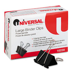 "Universal 10220 Large Binder Clips, Steel Wire, 1"" Capacity, 2"" Wide, Black/Silver, Dozen"