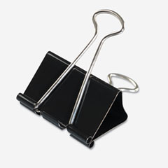 Universal - large binder clips, steel wire, 1-inch capacity, 2-inch wide, black/silver, dozen, sold as 1 dz