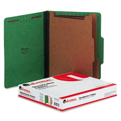 Universal - pressboard classification folders, letter, six-section, emerald green, 10/box, sold as 1 bx