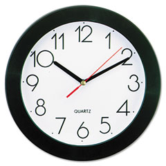 Universal - round wall clock, 9-3/4in, black, sold as 1 ea