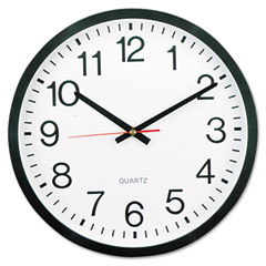 Universal - round wall clock, 12-3/4in, black, sold as 1 ea