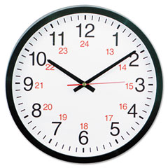 Universal - 24-hour round wall clock, 12-3/4in, black, sold as 1 ea