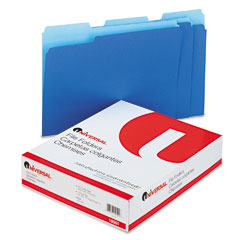 Universal - colored file folders, 1/3 cut one-ply top tab, letter, blue/light blue, 100/box, sold as 1 bx