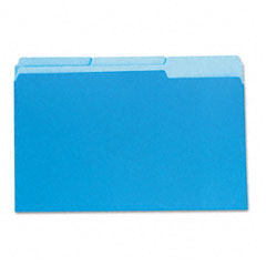 Universal - colored file folders, 1/3 cut one-ply top tab, legal, blue/light blue, 100/box, sold as 1 bx