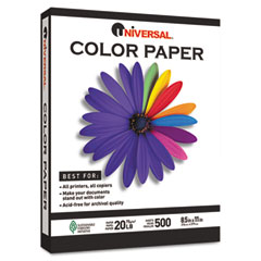 Universal - colored paper, 20lb, 8-1/2 x 11, canary, 500 sheets/ream, sold as 1 rm