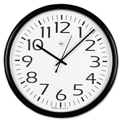 Universal - round wall clock, 13-1/2in, black, sold as 1 ea
