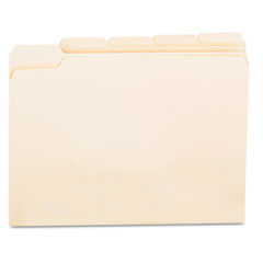 Universal - file folders, 1/5 cut assorted, one-ply top tab, letter, manila, 100/box, sold as 1 bx