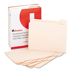 Universal 16115 File Folders, 1/5 Cut Assorted, Two-Ply Top Tab, Letter, Manila, 100/Box