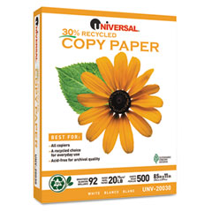 Universal 20030 30% Recycled Copy Paper, 92 Brightness, 20Lb, 8-1/2 X 11, White, 5000/Carton