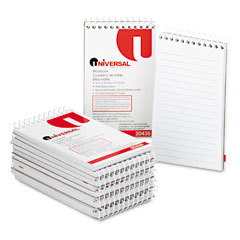 Universal 20435 Wirebound Memo Books, Narrow Rule, 3 X 5, White, 12 50-Sheet Pads/Pack