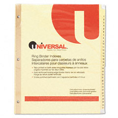 Universal 20813 Preprinted Plastic-Coated Tab Dividers, 31 Numbered Tabs, Letter, Buff, 31/Set