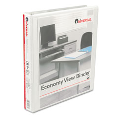 Universal - round ring economy vinyl view binder, 1-inch capacity, white, 12/carton, sold as 1 ct