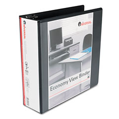 Universal - round ring economy vinyl view binder, 3-inch capacity, black, sold as 1 ea