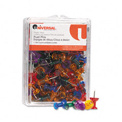 Universal - colored push pins, plastic, gemstone, 3/8-inch, 100/pack, sold as 1 pk