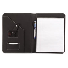 Universal 32660 Leather-Look Pad Folio, Inside Flap Pocket W/Card Holder, Black