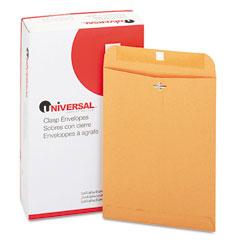 Universal 35264 Kraft Clasp Envelope, Side Seam, 28Lb, 9 X 12, Light Brown, 100/Box
