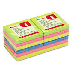Universal 35612 Self-Stick Notes, 3 X 3, 4 Neon Colors, 12 100-Sheet Pads/Pack