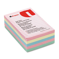 Universal - self-stick notes, 4 x 6, lined, 4 pastel colors, 5 100-sheet pads/pack, sold as 1 pk