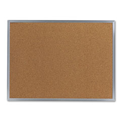 Universal - bulletin board, natural cork, 24 x 18, satin-finished aluminum frame, sold as 1 ea