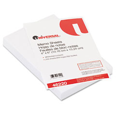 Universal 46220 Loose Memo Sheets, 4 X6, White, 200 Sheets/Pack