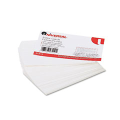 Universal - ruled index cards, 3 x 5, white, 100/pack, sold as 1 pk