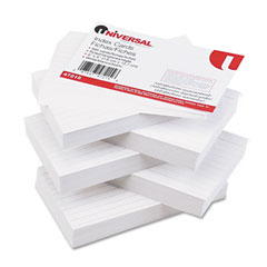 Universal 47215 Ruled Index Cards, 3 X 5, White, 500/Pack