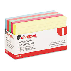 Universal - index cards, 3 x 5, blue/salmon/green/cherry/canary, 250/pack, sold as 1 pk