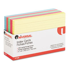 Universal - index cards, 4 x 6, blue/salmon/green/cherry/canary, 250/pack, sold as 1 pk