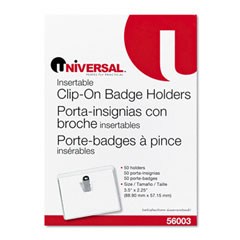 Universal 56003 Clear Badge Holders W/Inserts, Top Load, 2-1/4 X 3-1/2, White, 50/Box