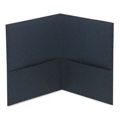 Universal - two-pocket portfolio, embossed leather grain paper, dark blue, sold as 1 bx
