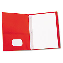 Universal - two-pocket portfolios w/tang fasteners, 11 x 8-1/2, red, 25/box, sold as 1 bx