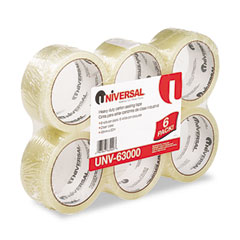 "Universal 63000 Box Sealing Tape, 2"" X 55 Yards, 3"" Core, Clear, 6/Box"