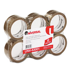 "Universal 63001 Box Sealing Tape, 2"" X 55 Yards, 3"" Core, Tan, 6/Box"