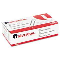 Universal 72220BX Smooth Paper Clips, Wire, Jumbo, Silver, 100/Box