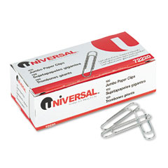 Universal 72220 Smooth Paper Clips, Wire, Jumbo, Silver, 100/Box, 10 Boxes/Pack