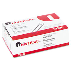 Universal 72230BX Nonskid Paper Clips, Wire, No. 1, Silver, 100/Box