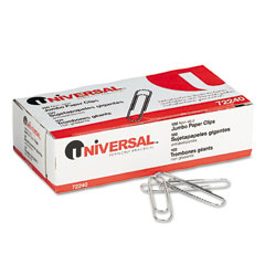 Universal 72240 Nonskid Paper Clips, Wire, Jumbo, Silver, 100/Box, 10 Boxes/Pack